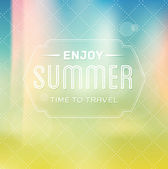Vector vintage summer label over photographic unfocused background — Stock Vector
