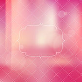 Vector vintage pink romantic label over photographic unfocused background — Stock Vector