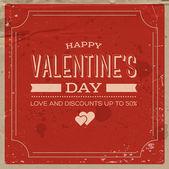 Vector retro weathered valentine's day poster — Cтоковый вектор