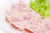 Ham in plate — Stock Photo