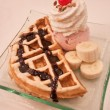 Waffle and icecream — Stock Photo
