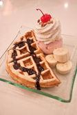 Waffle and icecream — Stock Photo
