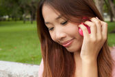 Girl woth mobile — Stock Photo