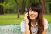 Talking on mobile phone — Stock Photo