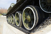 Soviet old T-34 tank wheels closeup — Stock Photo