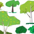 A collection of sixties cartoon style trees and shrubs — 图库矢量图片