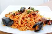 Seafood spaghetti — Stock Photo