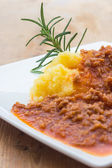 Polenta with Bolognese Sauce — Stock Photo