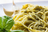 Spaghetti with pesto Genovese — Stock Photo