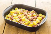 Potatoes with sausage — Stock Photo