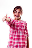 Little girl with thumbs up — Stock Photo