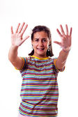 Little girl with open hands — Stock Photo