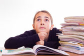 Little cute girl do homeworks — Foto de Stock