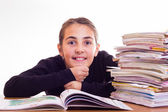 Little cute girl do homeworks — Stock Photo