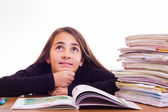 Little cute girl do homeworks — Stok fotoğraf