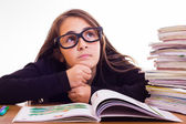 Little cute girl do homeworks — Foto Stock