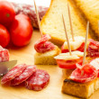Finger food salami — Stock Photo