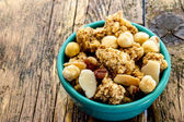Cereal with almonds and peanuts — Stock Photo