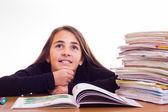 Little cute girl do homeworks — Stock Photo