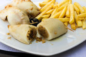 Stuffed cuttlefish and chips — Foto Stock
