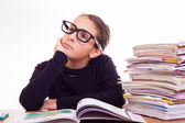 Little cute girl do homeworks — Stockfoto