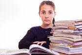 Little cute girl do homeworks — Stock fotografie