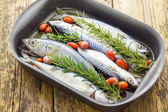 Mackerel baked with tomatoes — Stock Photo