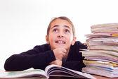 Little cute girl do homeworks — Stockfoto