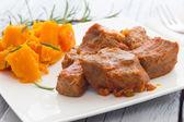 Pork stew garnished with pumpkin — Foto Stock