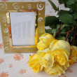 Photo frame and the rose — Stock Photo