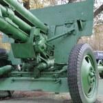 Anti-tank gun on a pontoon — Stock Photo