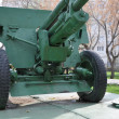 Anti-tank gun on a pontoon — Stock Photo #19360251