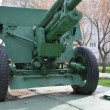Anti-tank gun on a pontoon — Stock Photo
