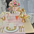 Elegant wedding table place settings - Stock Photo
