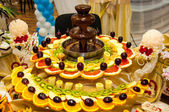 Chocolate fountain and fruit dessert — Stock Photo