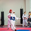 Stock Photo: Taekwondo competition between girls