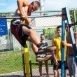 Amateur competitions of street workout — Stock Photo