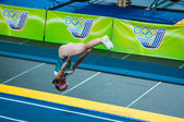 The girl on the acrobatic track — Stock Photo