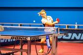 Table tennis game between girls — Stock Photo