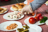 Preparation of canape. — Stock Photo