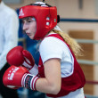 Competition Boxing between girls. — Foto de Stock