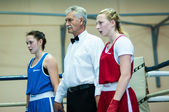 Competition Boxing between girls. — Stock Photo