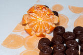 Tangerines and candy mandatory set Christmas gift — Stock Photo