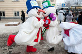 New year competition of snowmen — Foto Stock