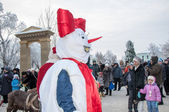 New year competition of snowmen — Stock Photo
