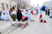 New year competition of snowmen. — Stock Photo