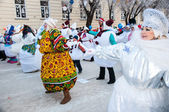 New year competition of snowmen. — Foto Stock