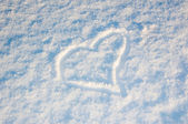 Happy Valentine's Day. The inscription on the snow — Stock Photo