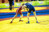 Sports wrestling competition between girls — Stock Photo