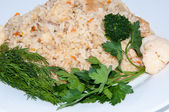 Rice with meat and fresh herbs — Stock Photo